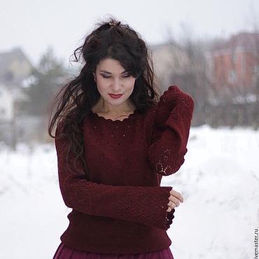 Одежда ручной работы. Ярмарка Мастеров - ручная работа Ажурный свитер рубинового цвета. Handmade.