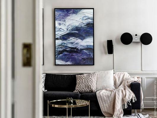 красивая абстракция маслом, картина интерьер, картина синяя абстракция, голубая абстракция, купить картину, картина интерьер, известный художник, русская живопись, современная живопись купить