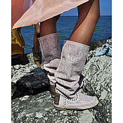 Обувь ручной работы handmade. Livemaster - original item Summer perforated leather boots PIZZO pink. Handmade.