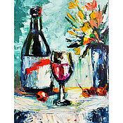 Картины и панно handmade. Livemaster - original item Wine, glass and flowers. The romance of the evening.. Handmade.