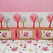 Для дома и интерьера ручной работы. Ярмарка Мастеров - ручная работа Покрывало с подушками для девочки в розовом и салатовых оттенках. Handmade.