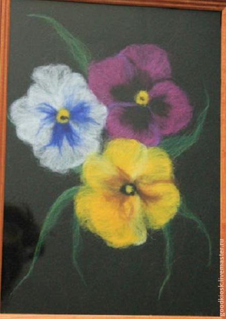 Картины цветов ручной работы. Ярмарка Мастеров - ручная работа. Купить Анютины глазки. Handmade. Авторская ручная работа