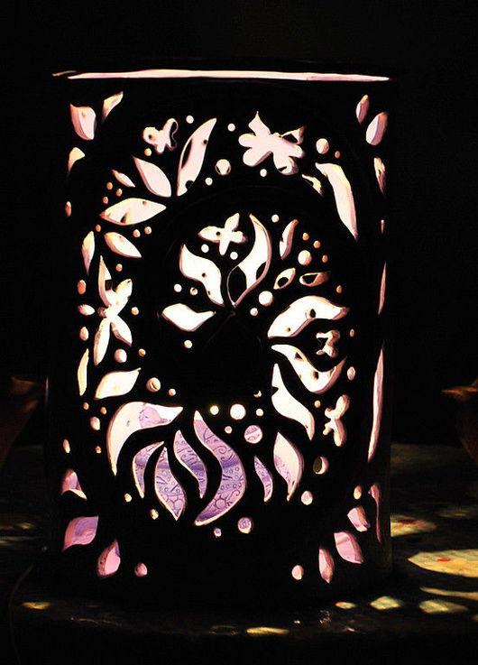 """Освещение ручной работы. Ярмарка Мастеров - ручная работа. Купить Светильник """"Летняя ночь"""". Handmade. Сиреневый, авторская керамика"""