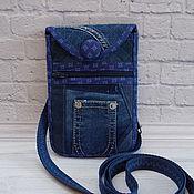 Чехол ручной работы. Ярмарка Мастеров - ручная работа Джинсовая сумочка для телефона, Синий,чехол для телефона с кармашком. Handmade.