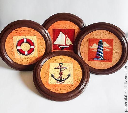 Тарелки ручной работы. Ярмарка Мастеров - ручная работа. Купить Набор в морском стиле из 4-х панно. Handmade. Коричневый