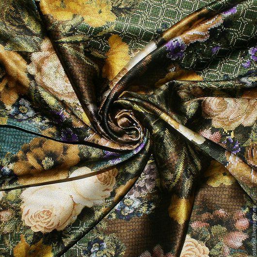Шитье ручной работы. Ярмарка Мастеров - ручная работа. Купить 1,45 м Итальянский шелковый атлас DOLCE&GABBANA РОЗЫ. Handmade.