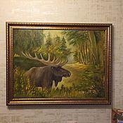 Картины и панно ручной работы. Ярмарка Мастеров - ручная работа Пейзаж маслом Лесной великан. Handmade.