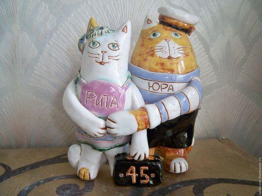 Статуэтки ручной работы. Ярмарка Мастеров - ручная работа. Купить Котики. Handmade. Кот, моряк, глина