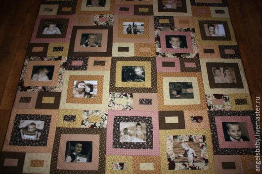 Текстиль, ковры ручной работы. Ярмарка Мастеров - ручная работа. Купить Лоскутное покрывало  с фотографиями -ретро. Handmade. Лоскутное одеяло