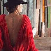 Одежда handmade. Livemaster - original item Red dress with open back. Handmade.