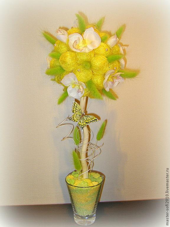 """Топиарии ручной работы. Ярмарка Мастеров - ручная работа. Купить Топиарий """"Нежные орхидеи"""". Handmade. Бабочка, салатовый, желтый цвет"""