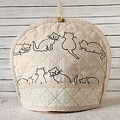 Для дома и интерьера ручной работы. Ярмарка Мастеров - ручная работа Грелка для чайника Коты и кошки. Handmade.