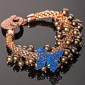 "Украшения ручной работы. Ярмарка Мастеров - ручная работа Браслет ""Blue butterfly"". Handmade."