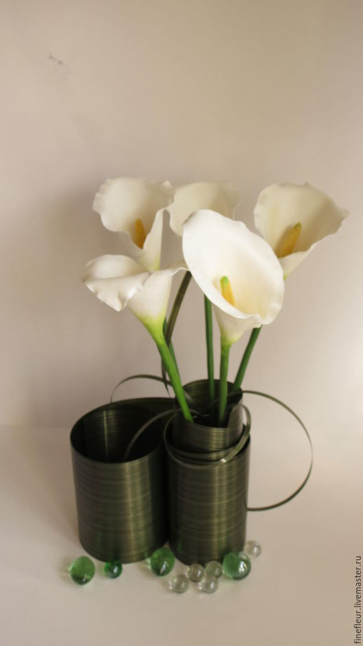 Цветы ручной работы. Ярмарка Мастеров - ручная работа. Купить Каллы  из самозатвердевающей глины. Handmade. Белый, каллы, букет цветов
