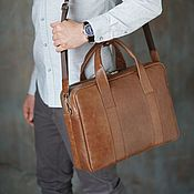 Сумки и аксессуары handmade. Livemaster - original item Men`s bag with compartment for laptop