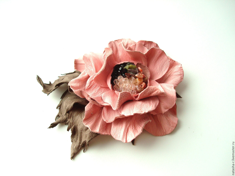 Цветы из кожи. Брошь Камелия  Фламинго, Броши, Москва, Фото №1