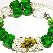 Necklace handmade. Livemaster - original item NECKLACES GREEN WHITE QUARTZ. pearls majorca. handmade. Handmade.