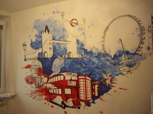 """Детская ручной работы. Ярмарка Мастеров - ручная работа. Купить Роспись стены """"Англия"""". Handmade. Разноцветный, украшение для интерьера, англия"""