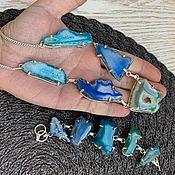 Украшения handmade. Livemaster - original item Set. Cut-off necklace and bracelet/druz Agata.. Handmade.