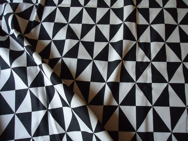 Denim fabric cotton black and white Triangles, Fabric, Novosibirsk,  Фото №1