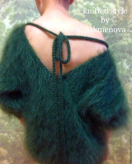 Кофты и свитера ручной работы. Ярмарка Мастеров - ручная работа. Купить Стильный свитер с мохера. Handmade. Тёмно-зелёный