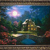 """Картины и панно ручной работы. Ярмарка Мастеров - ручная работа Картина """"Пейзаж с домиком"""". Handmade."""