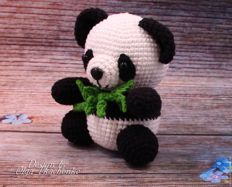 Вязание игрушки панды крючком 63