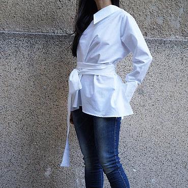 Одежда ручной работы. Ярмарка Мастеров - ручная работа Белая рубашка/Рубашка из хлопка/Экстравагантные рубашк/F1639. Handmade.