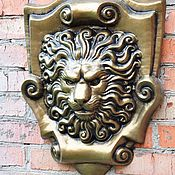 Дача и сад handmade. Livemaster - original item Lion concrete bas-relief No. №4 on the cartouche, decor, facade. Handmade.