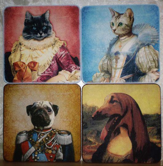 """Кухня ручной работы. Ярмарка Мастеров - ручная работа. Купить """"Кошки и собаки в костюмах"""" Разделочная доска панно. Handmade. Разноцветный"""