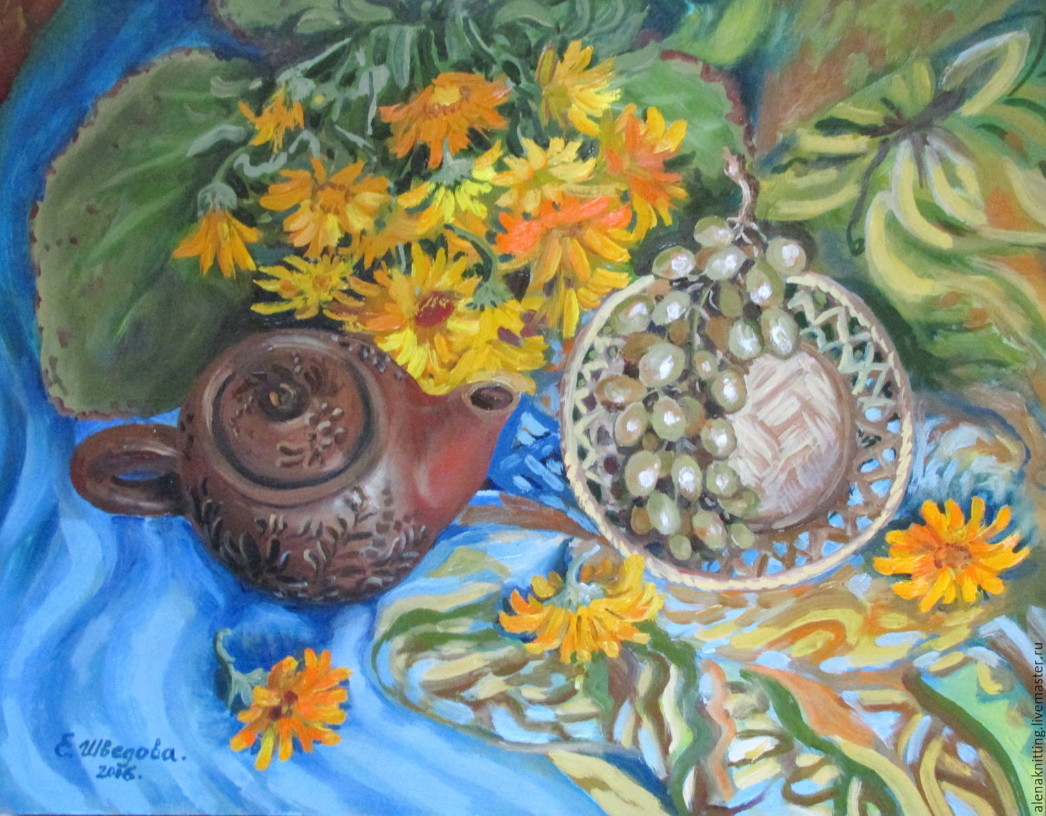 E Shvedova. oil painting . Still life. ` Tea with herbs ` 40 x 50. 2016 ( artistic oil on cardboard)