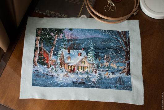 Пейзаж ручной работы. Ярмарка Мастеров - ручная работа. Купить Зимний пейзаж. Handmade. Дворик, зимний пейзаж, уютный дом