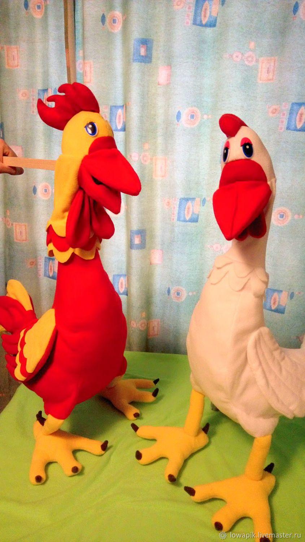 Детские ростовые куклы петушок и курица,попугай на обруче, Кукольный театр, Москва,  Фото №1