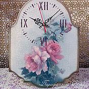 """Для дома и интерьера ручной работы. Ярмарка Мастеров - ручная работа Часы """"Розы с кракелюром"""". Handmade."""
