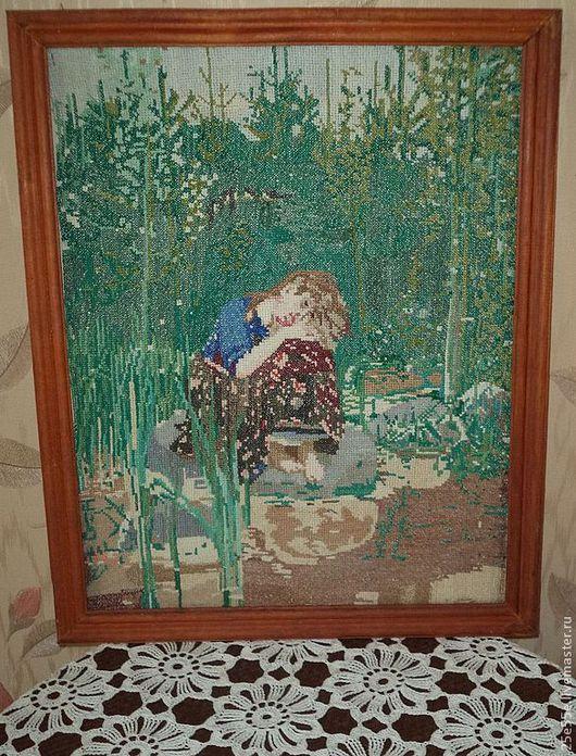 """Винтажные предметы интерьера. Ярмарка Мастеров - ручная работа. Купить Вышитая картина """"Алёнушка"""". Handmade. Вышивка, винтаж, подарок"""