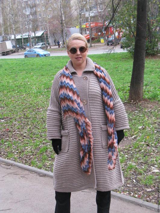 Большие размеры ручной работы. Ярмарка Мастеров - ручная работа. Купить Вязаное пальто ручной работы. Handmade. Серый