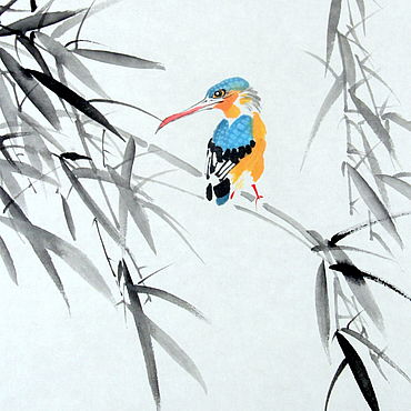 Картины и панно ручной работы. Ярмарка Мастеров - ручная работа Картина Зимородок и бамбук(китайская живопись акварель яркая птица). Handmade.