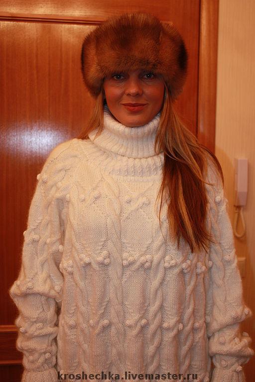 """Кофты и свитера ручной работы. Ярмарка Мастеров - ручная работа. Купить Шерстяной вязаный свитер """"Белые косы"""". Handmade."""
