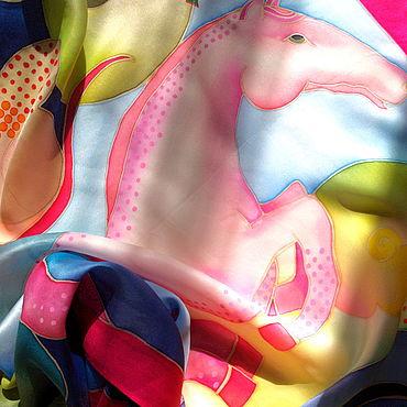"""Аксессуары ручной работы. Ярмарка Мастеров - ручная работа Платок шёлковый натуральный атлас """"Конь #17"""". Handmade."""