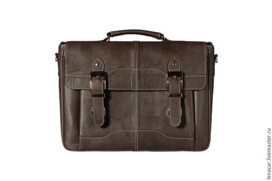 Мужские сумки ручной работы. Ярмарка Мастеров - ручная работа. Купить Мужская кожаная сумка-портфель 335. Handmade. Коричневый