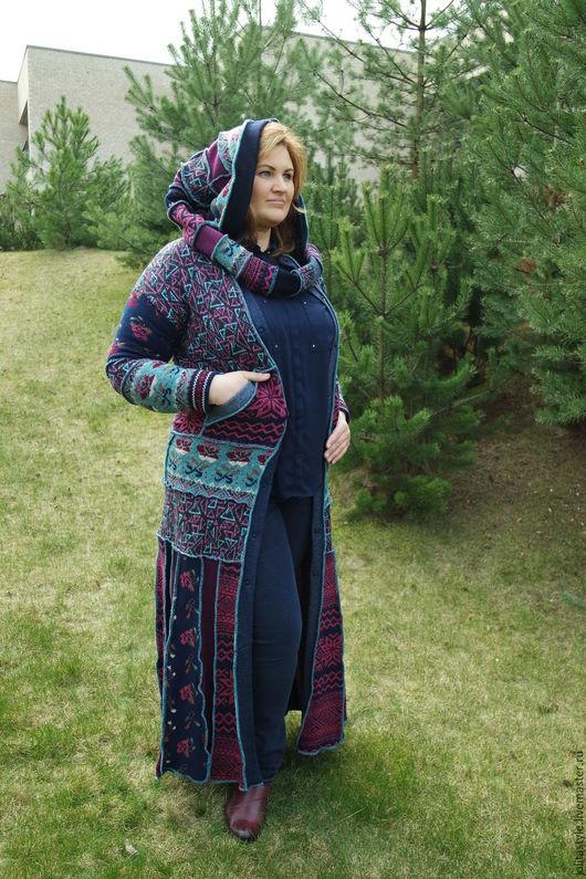 Верхняя одежда ручной работы. Ярмарка Мастеров - ручная работа. Купить Шерстяной свитер- пальто. Handmade. Комбинированный, шерсть меринос