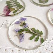 Украшения handmade. Livemaster - original item Transparent Earrings with Real Wildflowers Lilac Flowers Eco 3. Handmade.