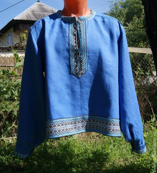 Одежда ручной работы. Ярмарка Мастеров - ручная работа. Купить Рубаха славянская с именем. Handmade. Синий, ручная вышивка