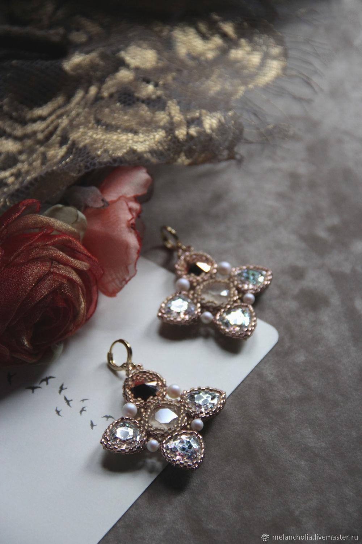 Wedding rhinestone earrings Large cross dangle earrings, Earrings, Moscow,  Фото №1