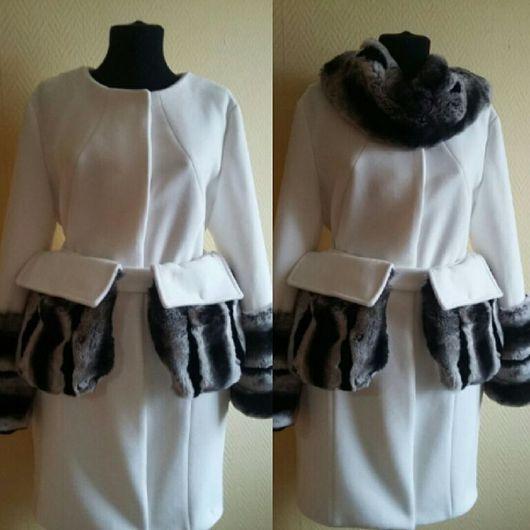 Верхняя одежда ручной работы. Ярмарка Мастеров - ручная работа. Купить Белоснежное пальто с мехом. Handmade. Однотонный, пальто