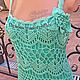 Платья ручной работы. Ярмарка Мастеров - ручная работа. Купить Agostina - вязаное летнее платье, сарафан крючком, мятное. Handmade.