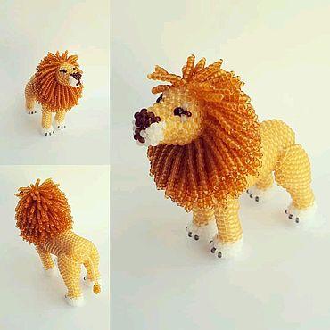 Куклы и игрушки ручной работы. Ярмарка Мастеров - ручная работа Лев из бисера. Handmade.
