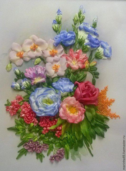 Картины цветов ручной работы. Ярмарка Мастеров - ручная работа. Купить картина вышитая лентами Экзотические цветы. Handmade. Розовый