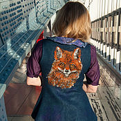 Одежда handmade. Livemaster - original item Vest blue sliver with Fox. Handmade.