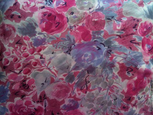 """Шитье ручной работы. Ярмарка Мастеров - ручная работа. Купить Ткань плательная """"Розы в цвету"""". Handmade. Фуксия, ткань летняя"""